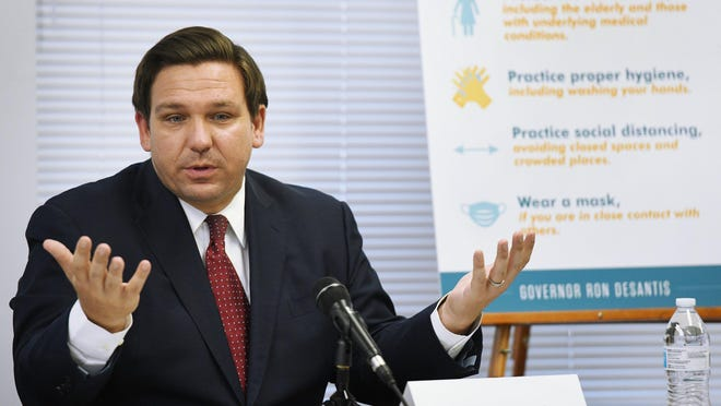 Gov. Ron DeSantis leads a round-table discussion Tuesday in Jacksonville on allowing family members to have time to hug loved ones in nursing homes despite coronavirus restrictions he imposed in March.