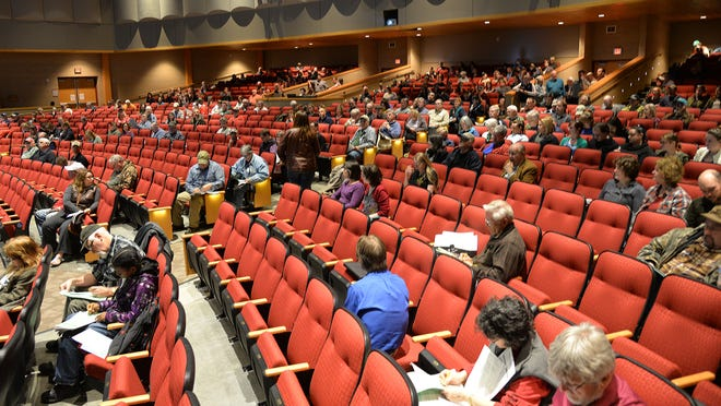 Attendance at Monday night's spring hearings fell 35 percent from a year ago. Dane County's hearing, shown, led the state with 340 attendees.