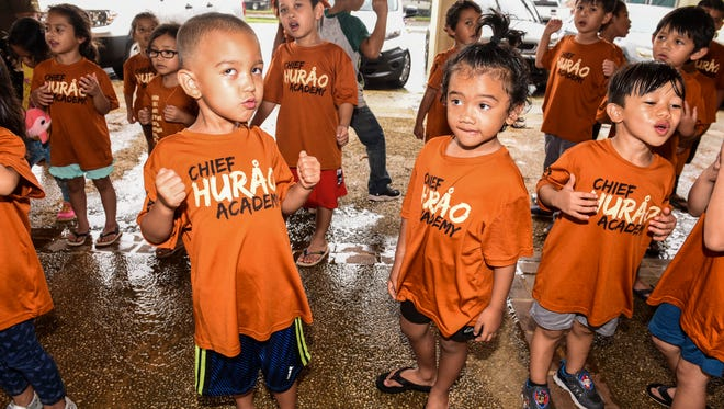 Students take part in a Chamoru dance activity during the Tiempon Somnak Summer Program at the Chief Huråo Academy in Hagåtña on Tuesday, June 26, 2018. The summer program aims to enrich a child's experience with the Chamoru language and culture through lessons of Chamoru language, cultural dancing, singing, chanting, weaving, cooking, historical field trips and more.