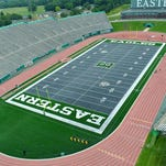 This undated photo released by Eastern Michigan University shows an aerial view of the new gray FieldTurf at Rynearson Stadium in Ypsilanti, Mich.