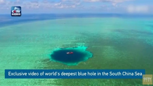 An image of the blue hole in the South China Sea.
