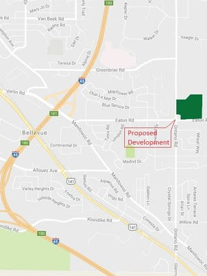 Site of a proposed multi-use development in Bellevue.