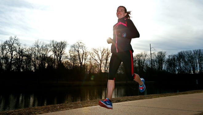 Kim Reed is in her last week of training prior to competing in the United States Olympic Team marathon trial in Los Angeles this Saturday. She is seen here training at Nathanael Greene Park in Springfield, Mo. on Feb. 5, 2016.