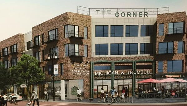 "Rendering shows ""The Corner,"" the Eric Larson plan for old Tiger Stadium site to be approved Tuesday."