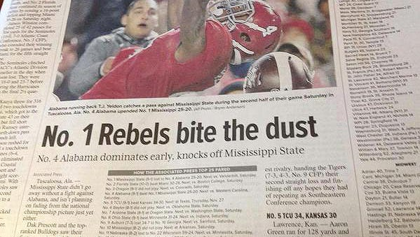 A newspaper in New York state confuses the Mississippi State Bulldogs and the Ole Miss Rebels.