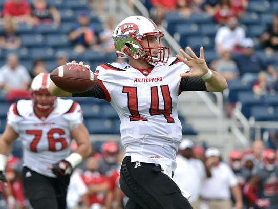 Mike White during a 2016 game for Western Kentucky.
