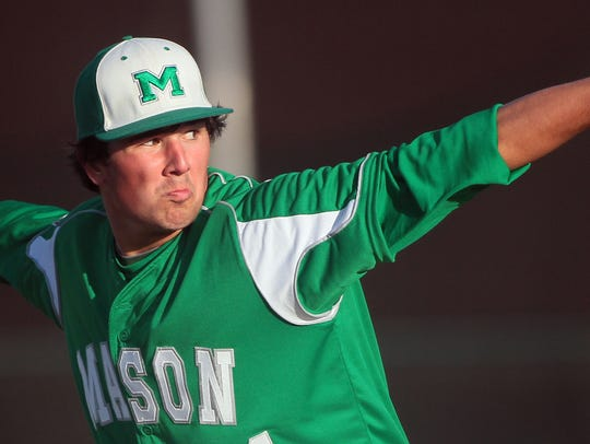 Mason's starting pitcher Andrew McDonald during the