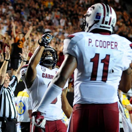 South Carolina Gamecocks receiver Nick Jones (3) celebrates after a touchdown during the second half.