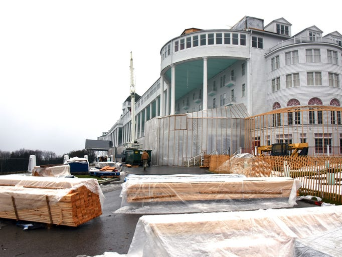 Winter construction at the Grand Hotel on Mackinac