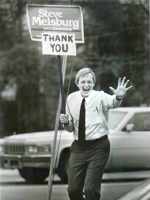 Former Tallahassee City Commissioner Steve Meisburg thanks residents after he was elected to the commission in 1987. Meisburg, who died in June, will be honored in a Dec. 1 celebration at The Moon.