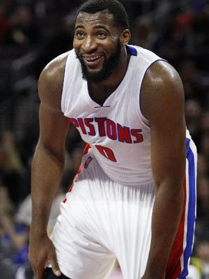 Here's Andre Drummond in his white Pistons uniform.