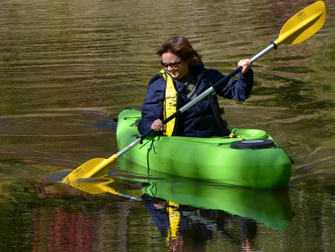 Sue Little, of Livonia, kayaks the Rouge.