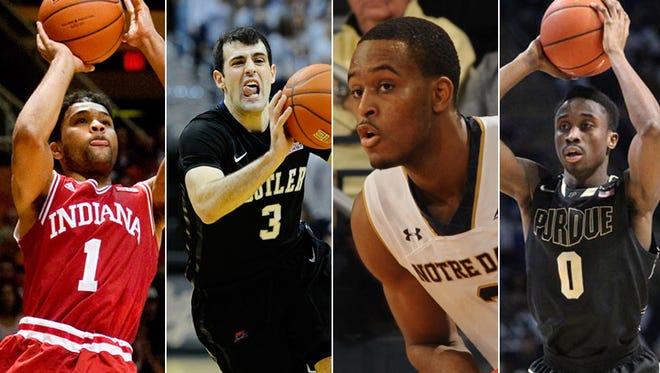IU's James Blackmon Jr. (from left), Butler's Alex Barlow, Notre Dame's V.J. Beachem and Purdue's Jon Octeus.