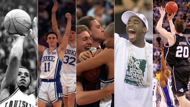 Final Fours in Indy (from left): Louisville's Darrell Griffith in 1980, Duke's Bobby Hurley and Christian Laettner in 1991, Arizona in 1997, Michigan State's Mateen Cleaves in 2000 and Butler's Gordon Hayward in 2010.