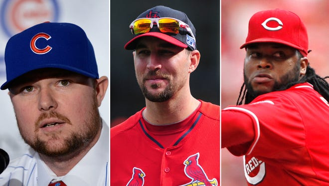 Jon Lester (left) joins established arms Adam Wainwright and Johnny Cueto in the NL Central.