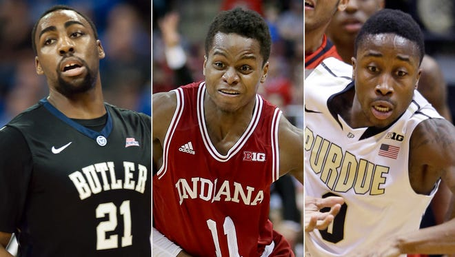 Roosevelt Jones of Butler (from left), Yogi Ferrell of IU and Jon Octeus of Purdue.