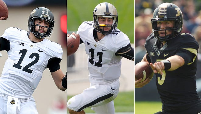 Austin Appleby (from left), David Blough and Danny Etling are competing for Purdue's quarterback spot in 2015.
