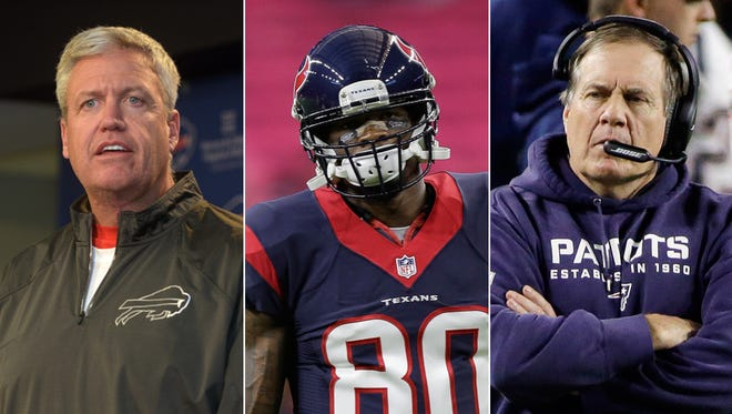 Rex Ryan  (from left) coaches the Buffalo Bills, the Colts' opening opponent. Colts receiver Andre Johnson (center) will visit Houston in a Thursday night game. Patriots coach Bill Belichick visits Indy on Oct. 18.