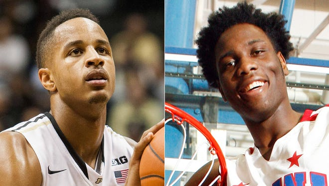 Vince Edwards (left) and Caleb  Swanigan of Purdue