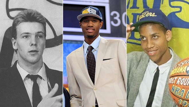 Left to right: Rik Smits, Paul George and Reggie Miller