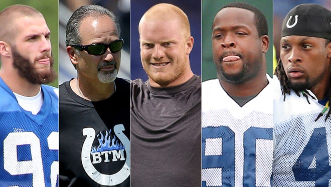 Bjoern Werner (from left), Chuck Pagano, Jack Mewhort, Kendall Langford and Clayton Geathers face some pressure.