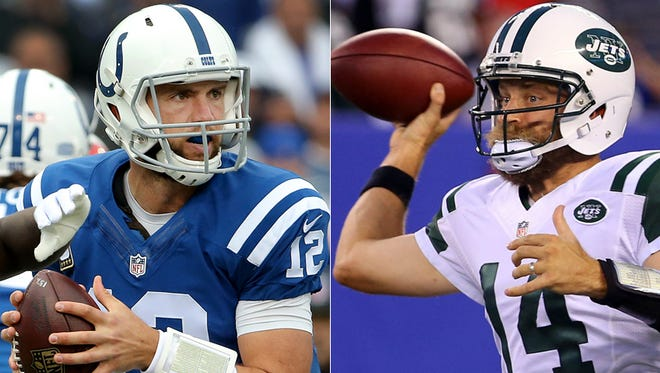 Andrew Luck (left) and Ryan Fitzpatrick are the quarterbacks in the Colts-Jets Week 2 matchup