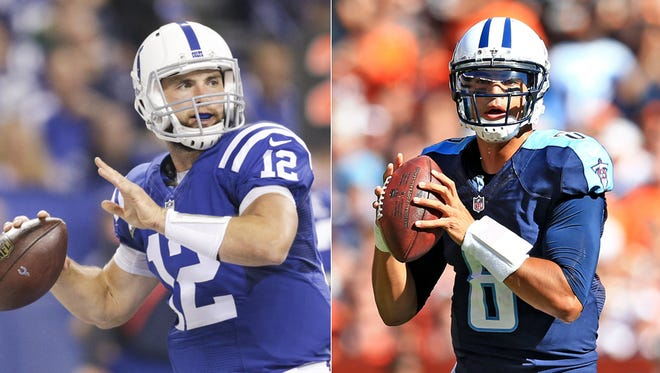 Andrew Luck (left) of the Indianapolis Colts and Marcus Mariota of the Tennessee Titans.