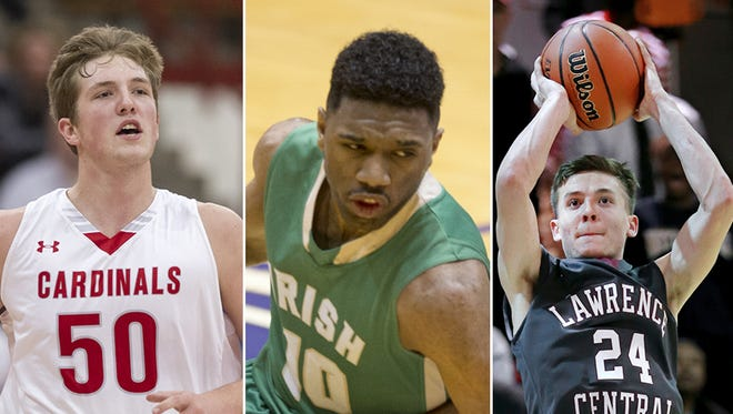 (Left to right): Joey Brunk, Eron Gordon and Kyle Guy are just three of the area's talented hoopers.