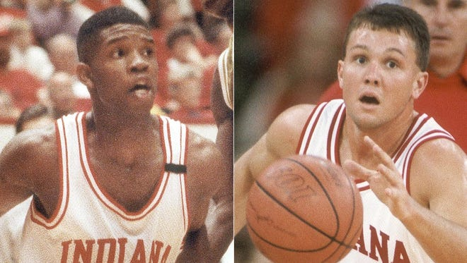 Former Indiana University stars Calbert Cheaney (left) and Damon Bailey highlight the newest Indiana Basketball Hall of Fame induction class.