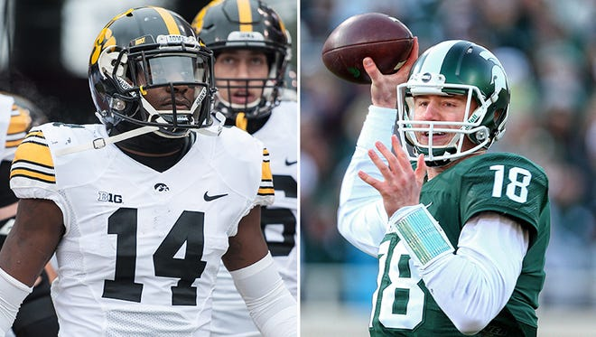 Iowa's Desmond King will look to slow down Michigan State QB Connor Cook on Saturday.