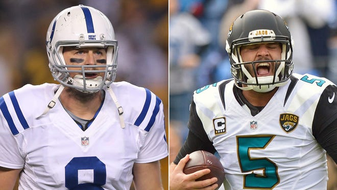 Matt Hasselbeck of the Colts (left) and Blake Bortles of the Jaguars.