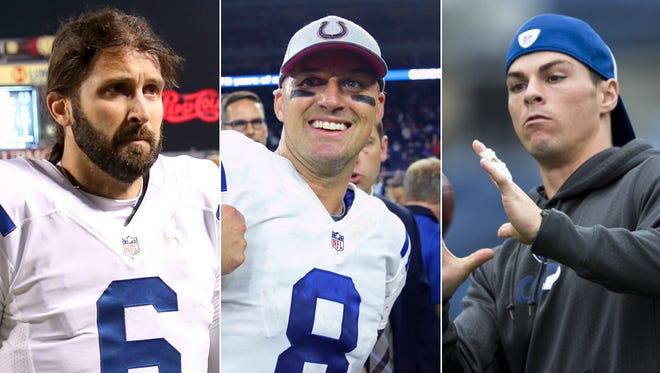 Charlie Whitehurst (from left), Matt Hasselbeck and Griff Whalen. Who will be throwing passes for the Indianapolis Colts on Sunday?