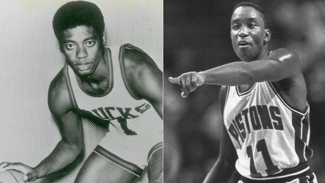 Oscar Robertson with the Milwaukee Bucks; Isiah Thomas with the Detroit Pistons