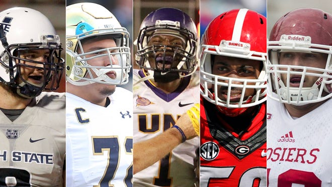 Potential Colts draft targets include (from left): Kyler Fackrell, Nick Martin, Deiondre' Hall, Jordan Jenkins and Jason Spriggs.