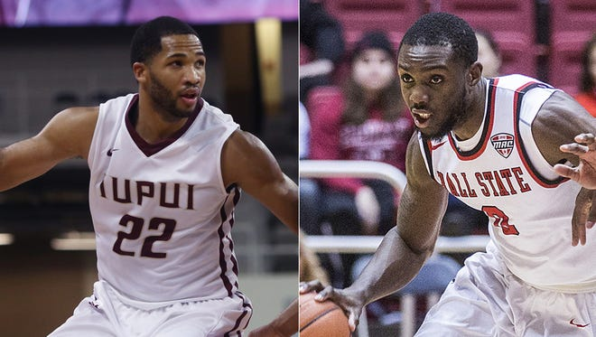 IUPUI's Marcellus Barksdale and Ball State's Francis Kiapway, who came through in the clutch last weekend.