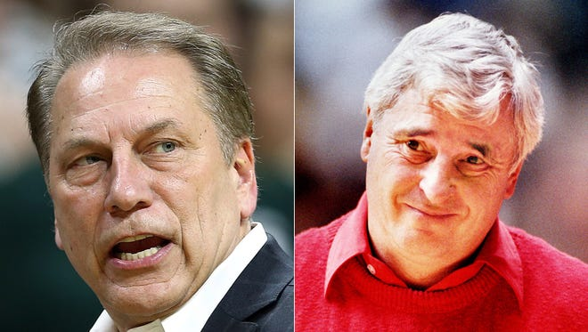 Michigan State basketball coach Tom Izzo (left) and former Indiana University coach Bob Knight