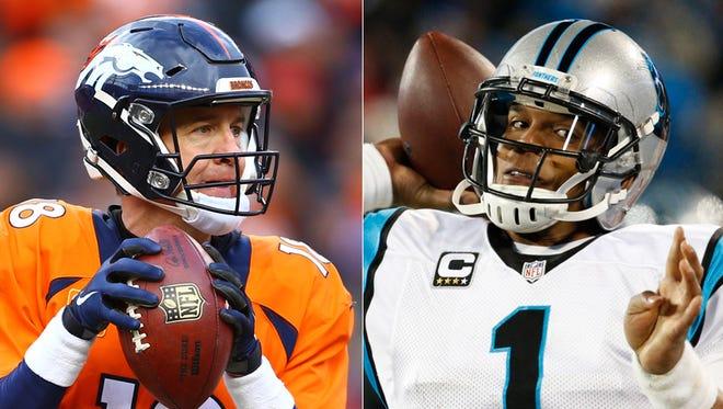 Peyton Manning of the Denver Broncos (left); Cam Newton of the Carolina Panthers