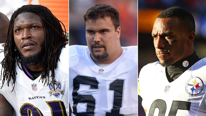 Courtney Upshaw (from left), Stefan Wisniewski and Brandon Boykin are potential additions for the Indianapolis Colts