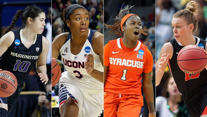 Kelsey Plum of Washington (from left), Morgan Tuck of Connecticut, Alexis Peterson of Syracuse and Jamie Weisner of Oregon State.