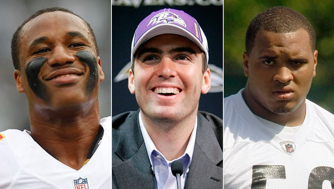 Drafted 18th: Marcus Peters made the Pro Bowl for the Chiefs as a rookie last year (from left); Joe Flacco is the Ravens' starting QB; Maurkice Pouncey has been a perennial Pro Bowl performer as the Steelers' center.