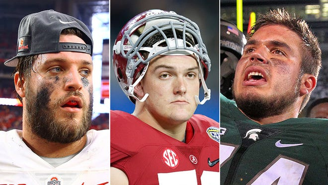 Taylor Decker, Ohio State (from left); Ryan Kelly, Alabama; Jack Conklin, Michigan State.