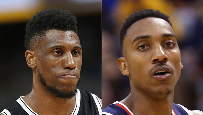 The Indiana Pacers traded for Thaddeus Young (left) and Jeff Teague on consecutive days. Team president Larry Bird made the deals.