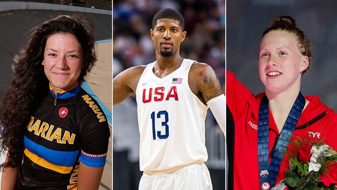 Left to right: Chloe Dygert, Paul George and Lilly King will all look to bring home gold in Rio.