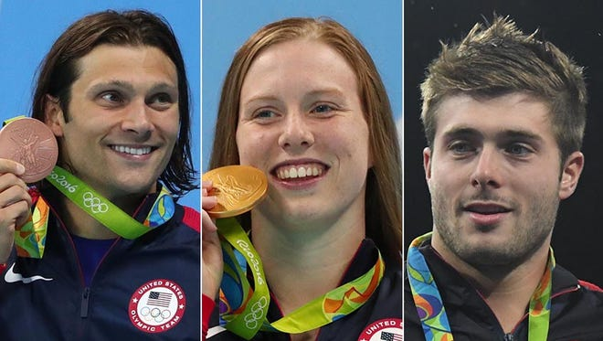 Cody Miller (from left), Lilly King and Michael Hixon are Olympic medalists from the IU program.