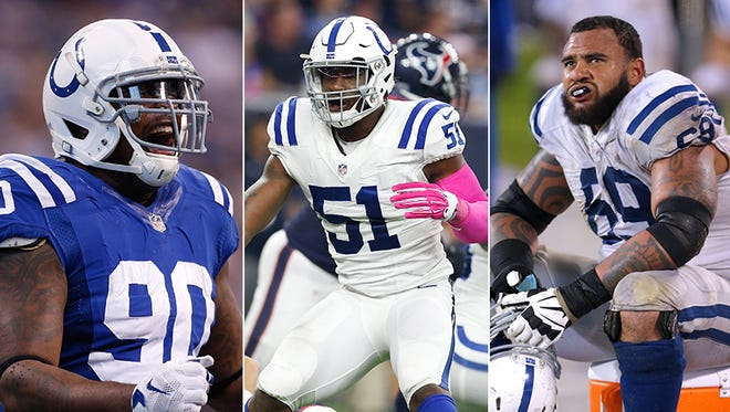 From left to right: Kendall Langford, Sio Moore and Hugh Thornton have all missed time this preseason with injuries.