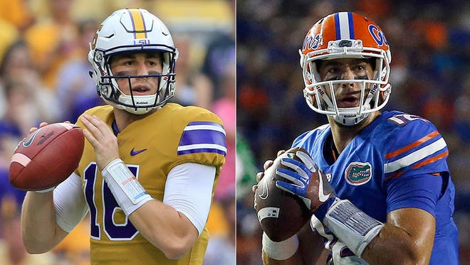 Danny Etling of LSU (left) and Austin Appleby of Florida split starts at Purdue in 2014.