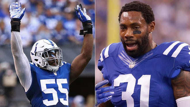 The Colts cut defensive starters Sio Moore (left) and Antonio Cromartie on Tuesday.