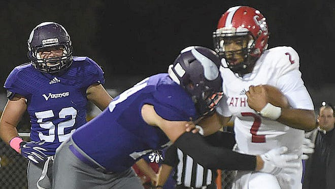 Opelousas Catholic School's Spencer Gardner, shown here making a tackle, has committed to UL as an offensive lineman.