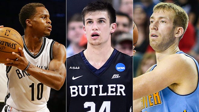 Yogi Ferrell (from left), Kellen Dunham and Robbie Hummel were all released by their NBA teams in the past couple of days.
