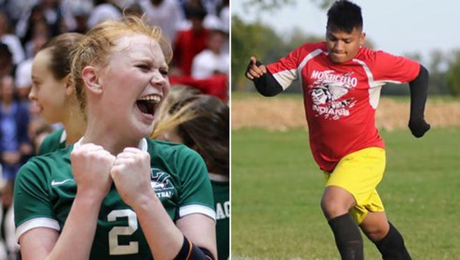 October's Athletes of the Month: Mamie Garard of Zionsville (left) and Daniel Cortez of North White.